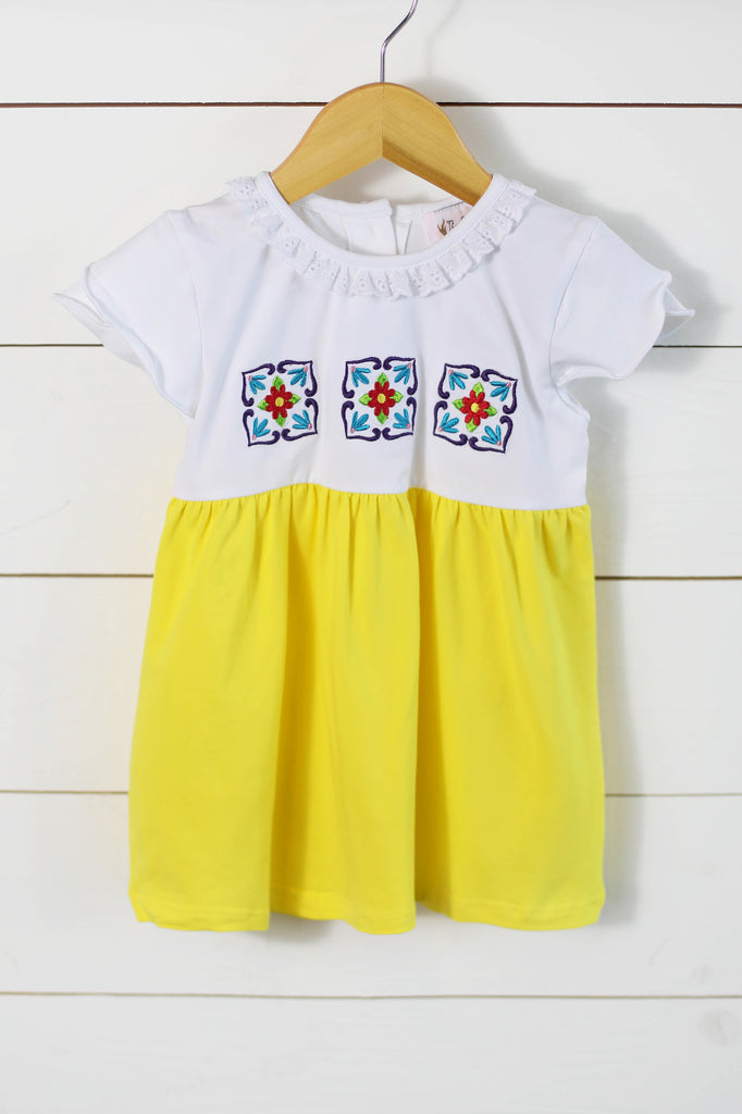 Cinco De Mayo Embroidered Knit Yellow Dress