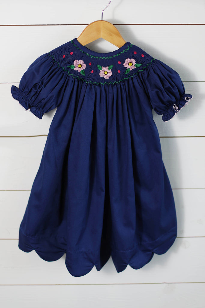 Flower Smocked Navy Pique Scalloped Bishop Dress