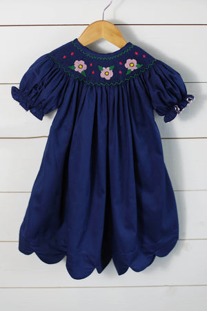 Load image into Gallery viewer, Flower Smocked Navy Pique Scalloped Bishop Dress