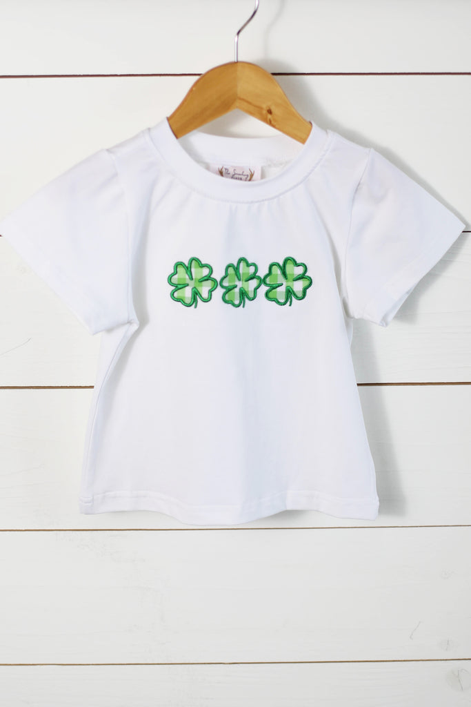 Clover Applique Boy White Knit Shirt