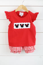 Mouse Smocked Red Gingham Bubble Short Set