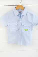 Gator Embroidered Blue Gingham Fishing Shirt