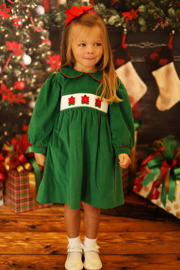 Poinsettia Smocked Green Corduroy Dress