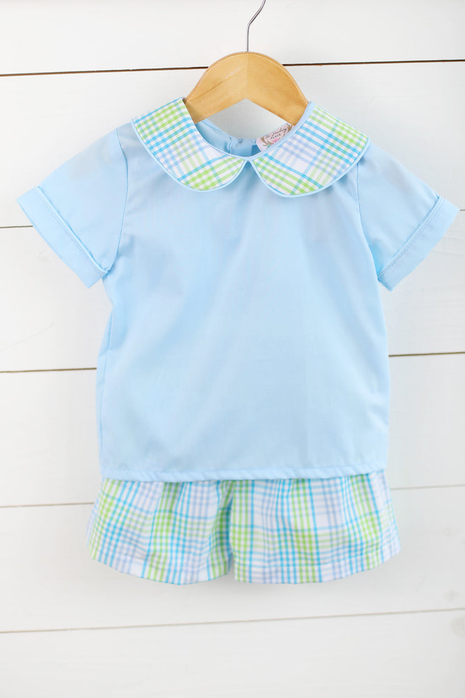 Blue & Green Plaid Short Set