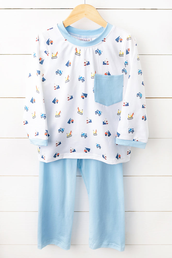 Load image into Gallery viewer, Knit Construction Truck Blue Pant Set