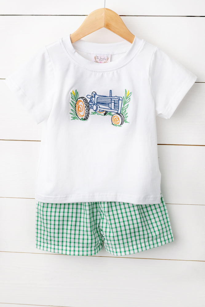 Tractor Embroidered Green Windowpane Short Set