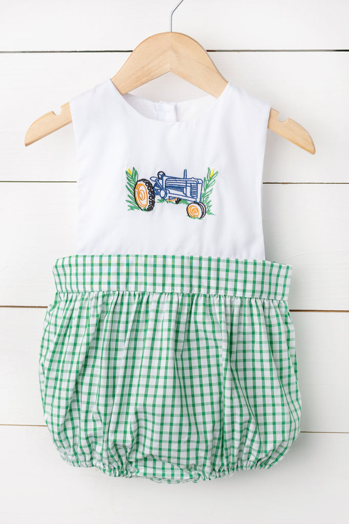 Tractor Embroidered Green Windowpane Bubble