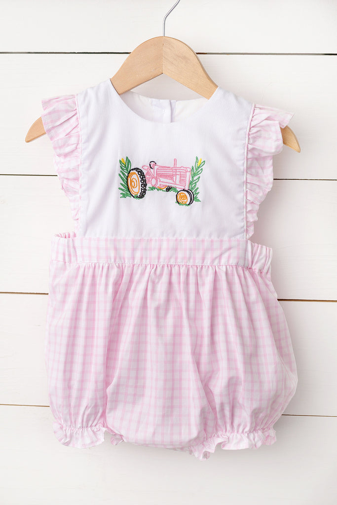 Tractor Embroidered Pink Windowpane Bubble