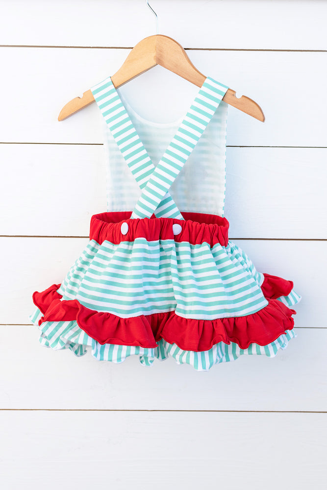 Knit Kite Applique Mint Stripe Top Red Ruffle Pant Set