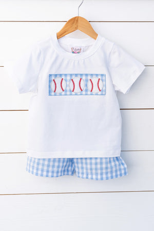 Load image into Gallery viewer, Baseball Appliqué White Shirt Blue Gingham Short Set