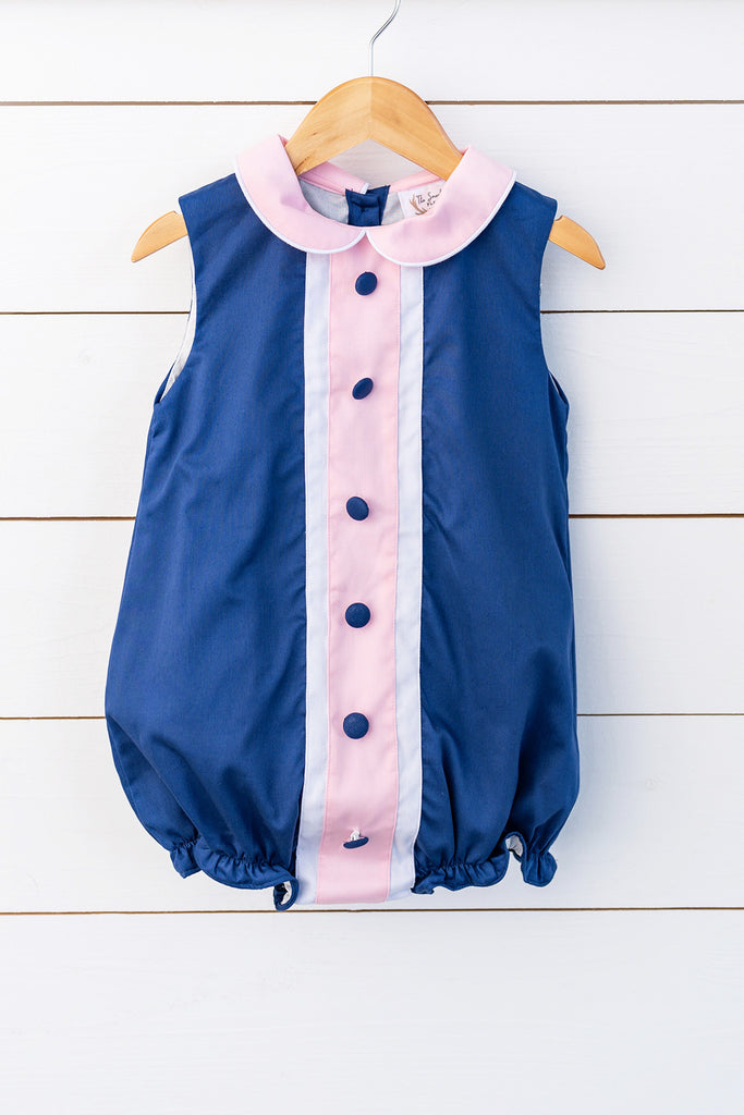 Navy Pique Collared Bubble with Pink Trim