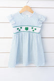 Knit Lucky Clover Smocked Green Bitty Dot Angel Wing Dress