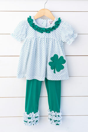 Knit Clover Applique Green Bitty Dot Top with Green Icing Leggings