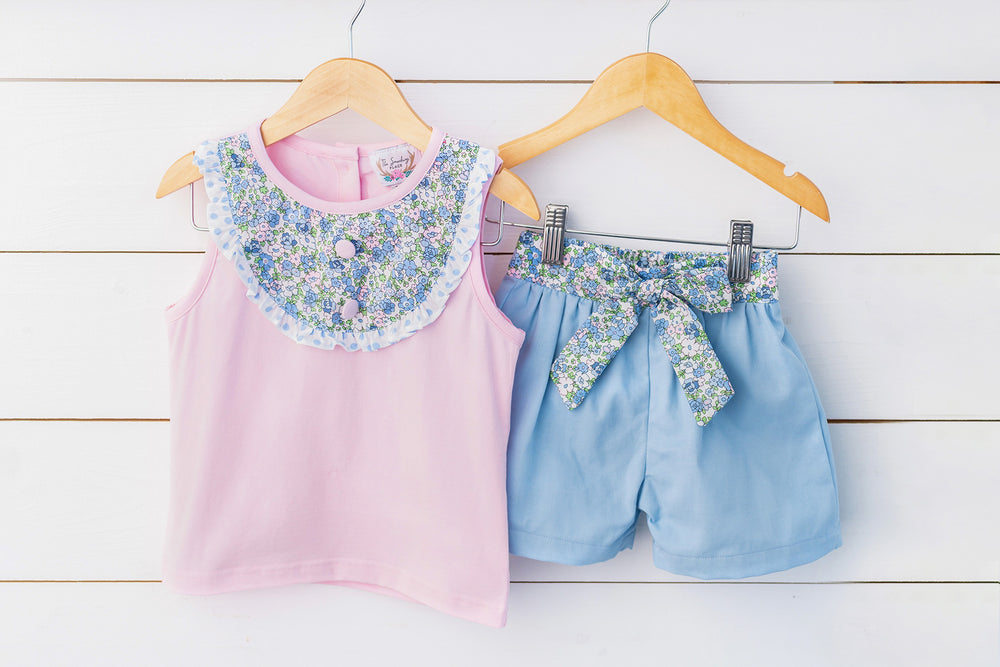 Pink Floral Tank Bow Short Set