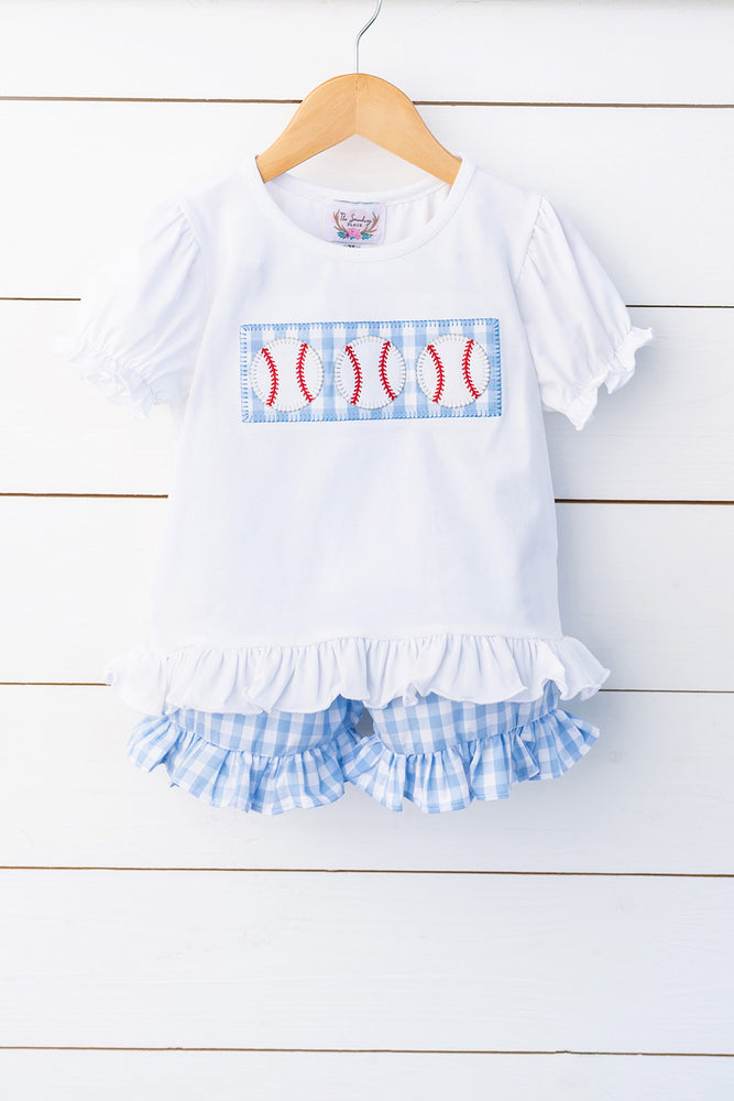 Load image into Gallery viewer, Baseball Appliqué White Shirt Blue Gingham Ruffle Short Set