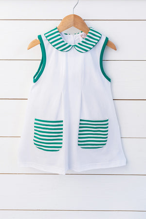 Knit White Collared Dress with Green Stripe Trim