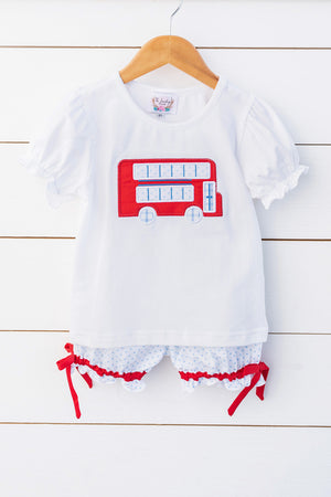 Load image into Gallery viewer, Knit Double Decker Applique White Shirt Blue Bitty Dot Bubble Short Set with Red Bow Trim