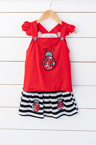 Knit Baseball Applique Red Dress