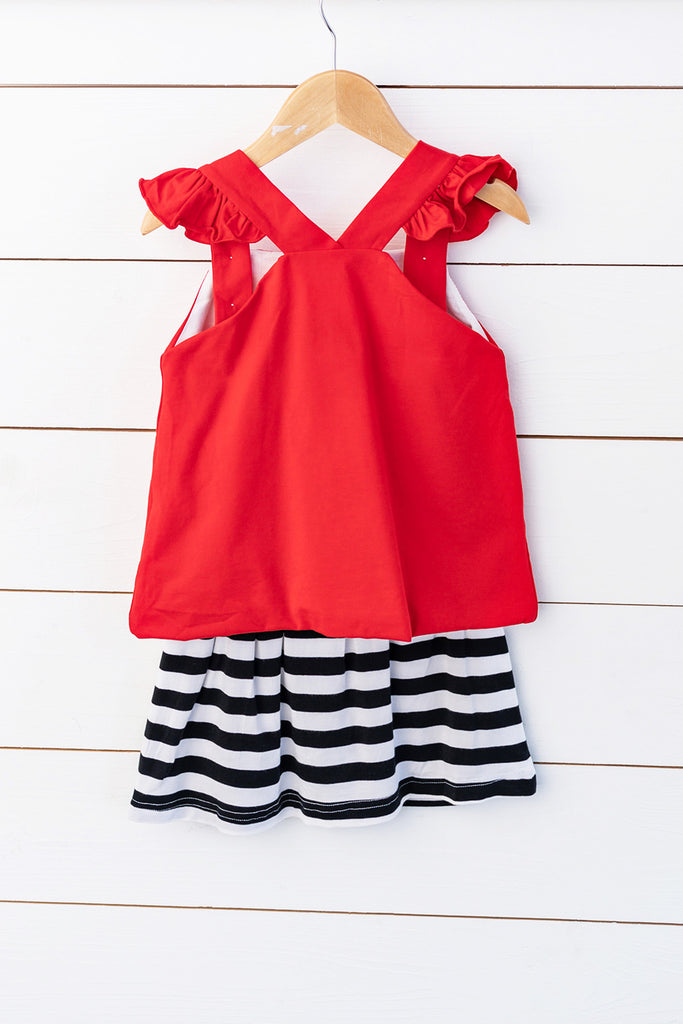 Knit Lady Bug Applique Red Angel Wing Top Black Stripe Skort Set