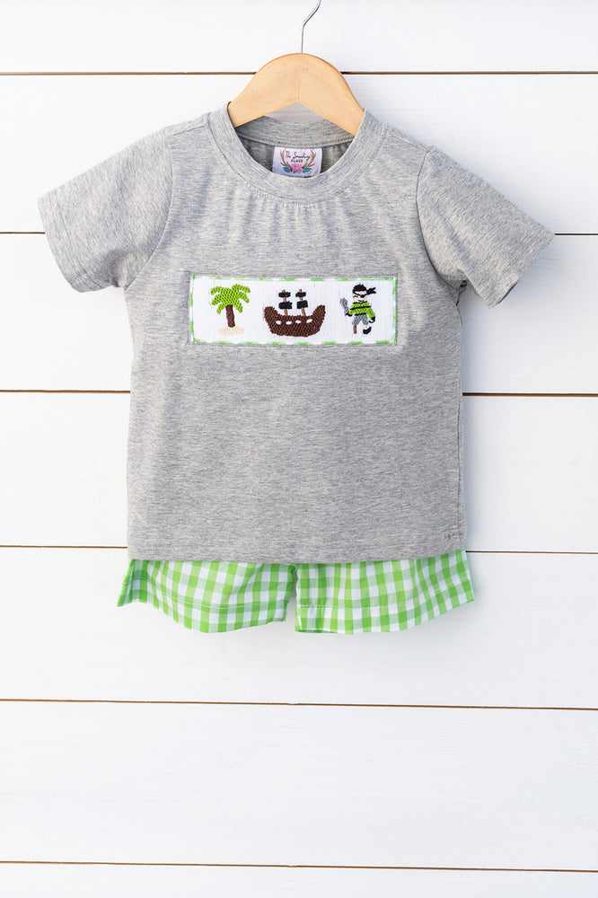 Load image into Gallery viewer, Pirate Smocked Grey Shirt Lime Green Gingham Short Set