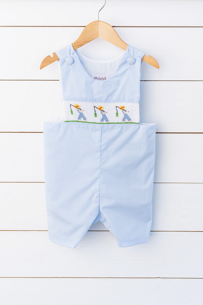 Going Fishing Smocked Blue Gingham Jon Jon