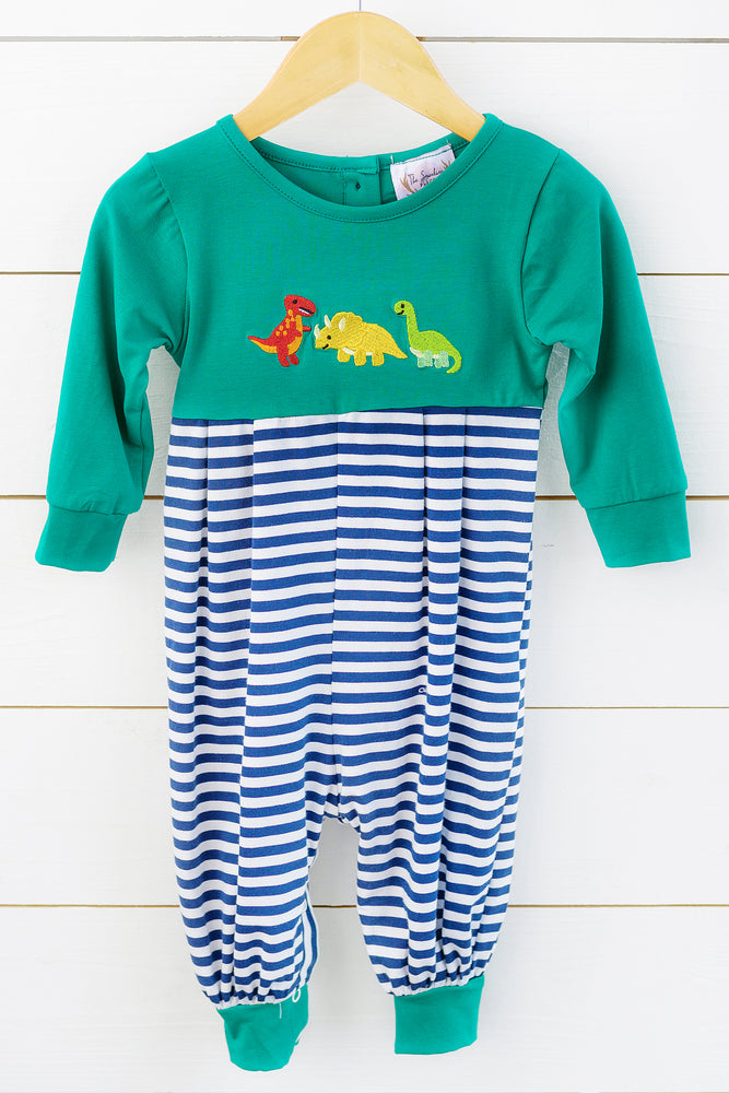 Knit Dinosaur Embroidered Navy Stripe Romper