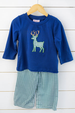 Load image into Gallery viewer, Deer Applique Hunter Green Windowpane Pant Set