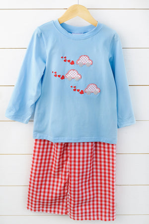 Valentine's Car Applique Red Gingham Pant Set