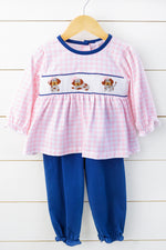 Knit Puppy Smocked Pink Gingham Navy Bubble Pant Set