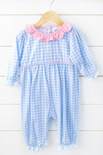 Knit Blue Gingham Pink Ruffle Romper