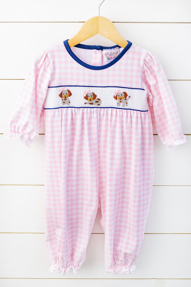 Knit Puppy Smocked Pink Gingham Romper