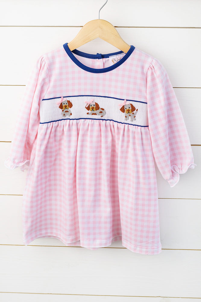 Knit Puppy Smocked Pink Gingham Dress