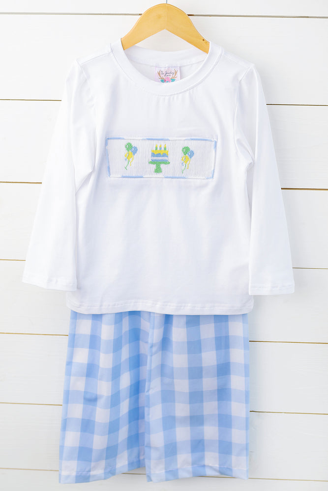 Load image into Gallery viewer, Birthday Smocked Blue Buffalo Check Pant Set