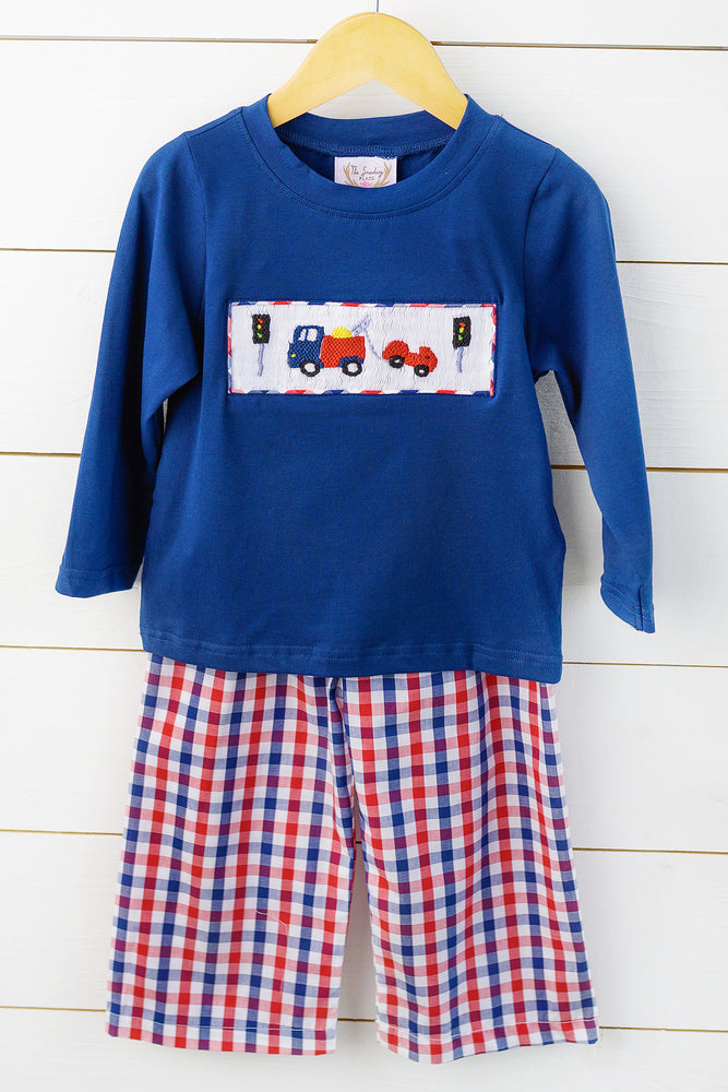 Load image into Gallery viewer, Tow Truck Smocked Blue and Red Plaid Pant Set