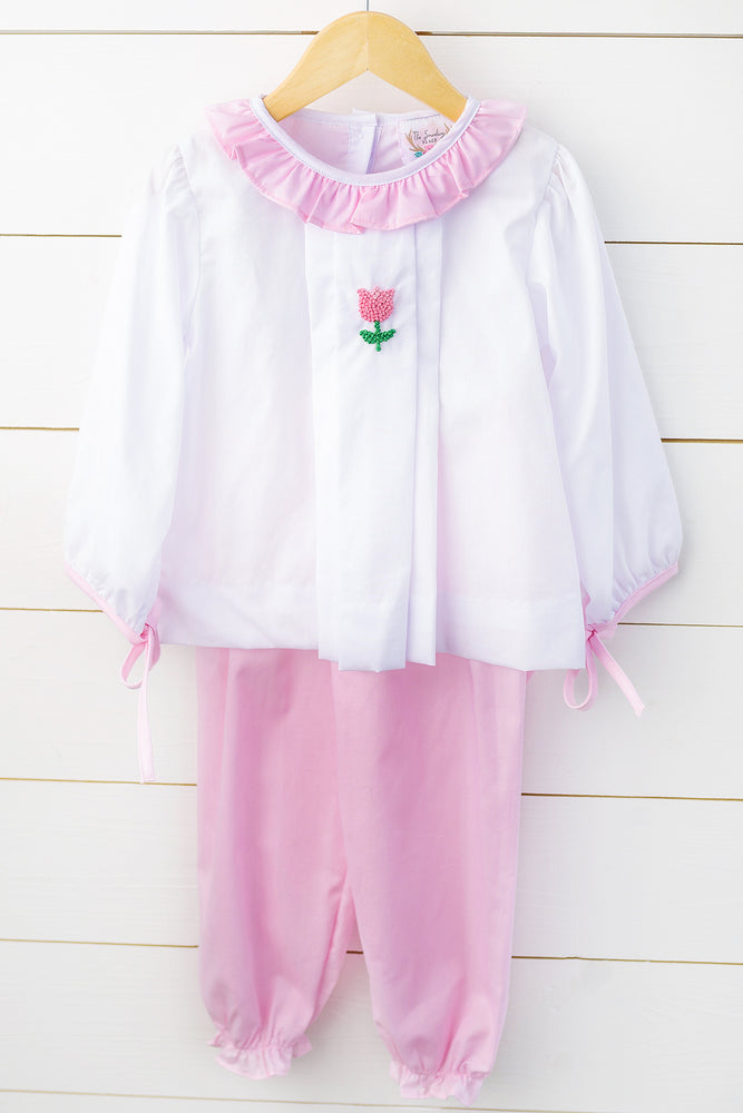 Tulip French Knot Embroidered Pink Bubble Pant Set