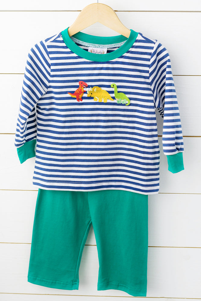 Knit Dinosaur Embroidered Navy Stripe Pant Set