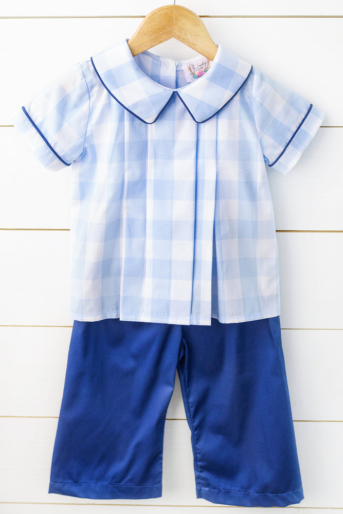 Load image into Gallery viewer, Blue Buffalo Check Navy Pant Set
