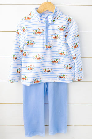 Knit Mallard Duck Pullover Blue Pant Set