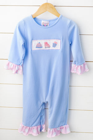 Load image into Gallery viewer, Knit Ice Skate Smocked Ruffle Romper