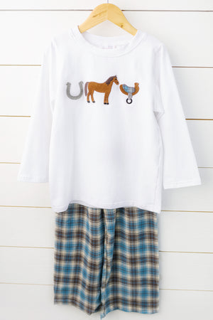 Load image into Gallery viewer, Horse Applique Blue Tartan Pant Set