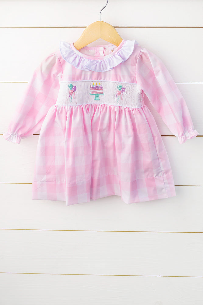 Birthday Smocked Pink Buffalo Check Dress