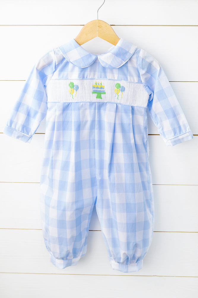 Load image into Gallery viewer, Birthday Smocked Blue Buffalo Check Boy Long Bubble