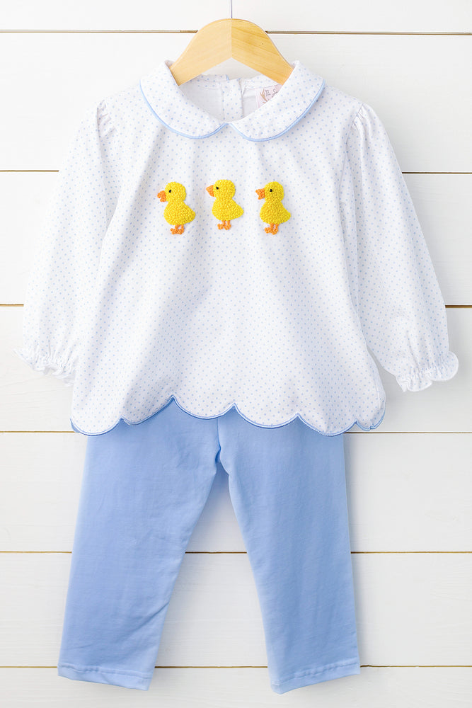 Knit Duck French Knot Blue Bitty Dot Girl Pant Set