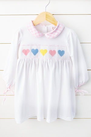 Knit Rainbow Hearts Smocked Pink Gingham Collared Dress