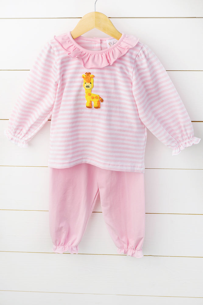 Load image into Gallery viewer, Knit Giraffe Crochet Pink Stripe Bubble Pant Set