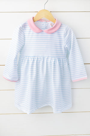 Load image into Gallery viewer, Knit Blue Mini Stripe Pink Collared Dress
