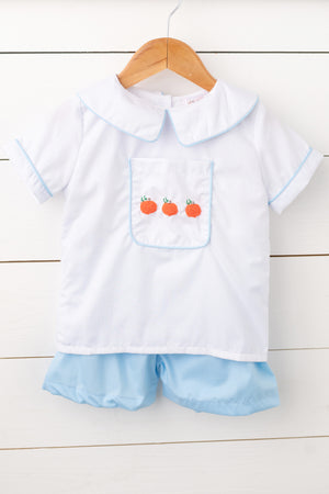 Pumpkin French Knot Embroidered Blue Short Set