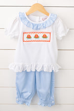 Pumpkin Carriage Smocked Blue Dot Banded Pant Set