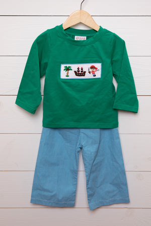 Pirate Smocked Green Shirt Blue Gingham Pant Set
