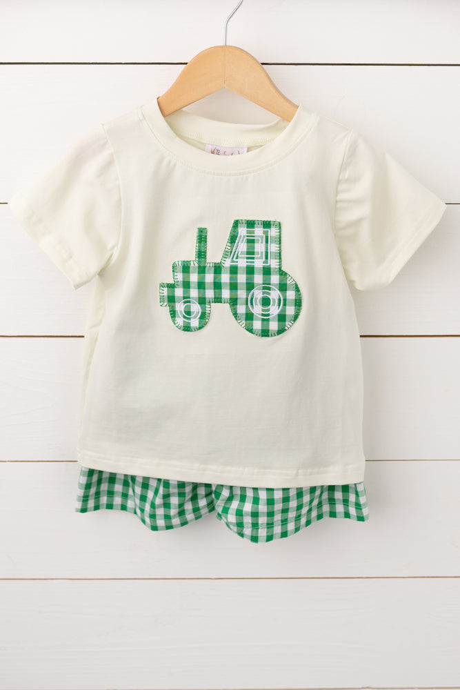 Load image into Gallery viewer, Tractor Applique Green Gingham Short Set